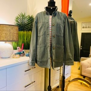 Gap Slub Cotton Utility Jacket Olive Green